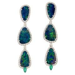 14.11 Carat Opal Emerald Diamond 18 Karat Gold Triple Drop Earrings