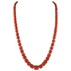 141.1 g Red Coral Long/Multi-Strand Retrò Necklace