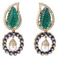 14.12 Carat Carved Emerald, Pearl and Sapphire Dangle Earring