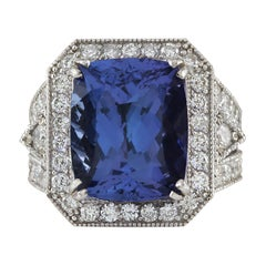 14.12 Carat Natural Tanzanite 18 Karat White Gold Diamond Ring
