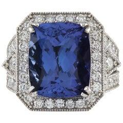 14.12 Carat Tanzanite 18 Karat White Gold Diamond Ring