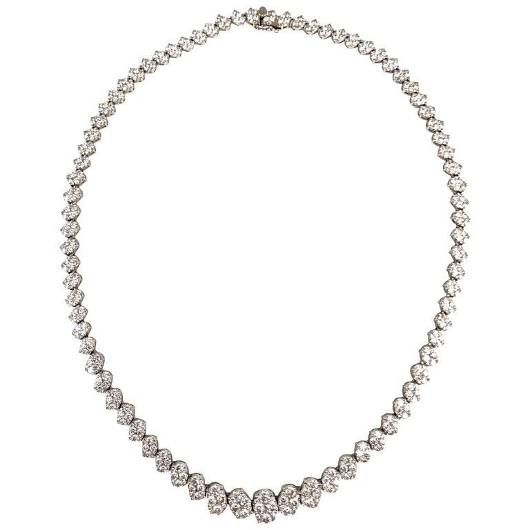 14.14 Carat Diamond Necklace in 18 Karat White Gold For Sale