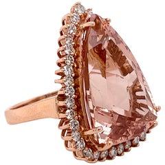 14.15 Carat Morganite Rose Gold Ring with Diamonds