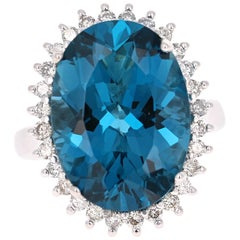 14.19 Carat Blue Topaz Diamond White Gold Cocktail Ring
