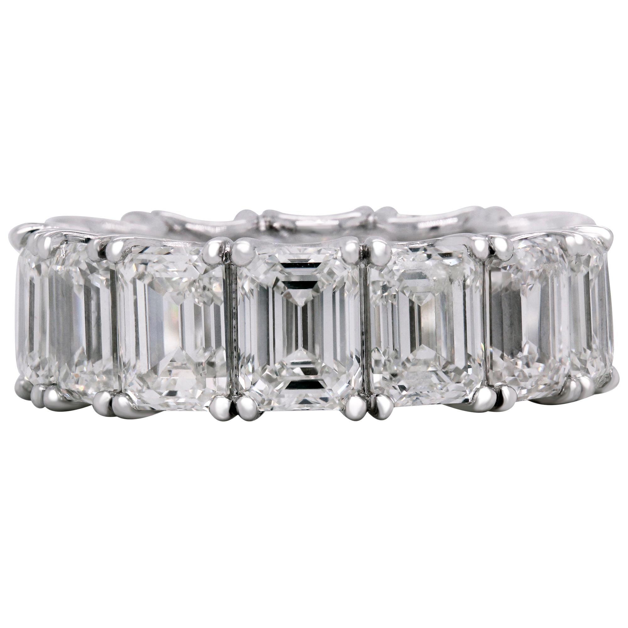 14.19 Carat Emerald Cut Diamonds All GIA Certified Platinum Eternity Band