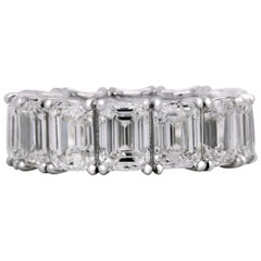 14.19 Carat Emerald Cut Diamonds All GIA Certified Platinum Eternity Band