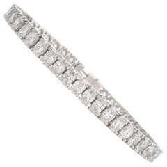 14.19 Carat Large Oval Diamond Platinum Tennis Bracelet