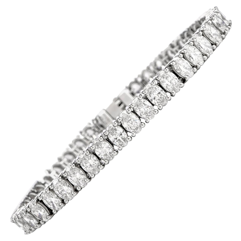 14.19 Carat Oval Diamond Platinum Line Tennis Bracelet