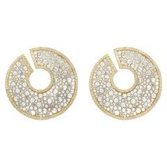 Roman Malakov 14.19 Carat Round Brilliant and Rose Cut Diamond Circular Earrings