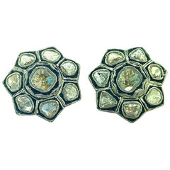 1.41ct Old Mine Cut 'Polki Diamond' Studs in Oxidized Sterling Silver, 14KT Gold