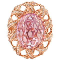 14.2 Carat Amethyst and Diamond Ring in 14 Karat Rose Gold