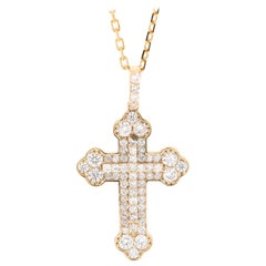 1.42 Carat Cross Pendant 14 Karat Yellow Gold Chain Necklace