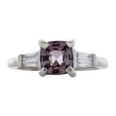 1.42 Carat Cushion Cut Spinel & Diamond Ring in 18k White Gold