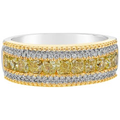 1.42 Carat Cushion Cut Yellow and White Diamond Beaded Fashion Ring