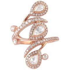 1.42 Carat Diamond 18 Karat Wave Cocktail Ring