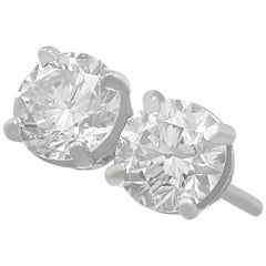 1.42 Carat Diamond and Platinum Stud Earrings