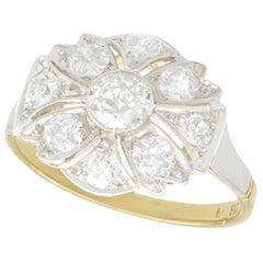 1.42 Carat Diamond and Yellow Gold Cocktail Ring Art Deco, circa 1925