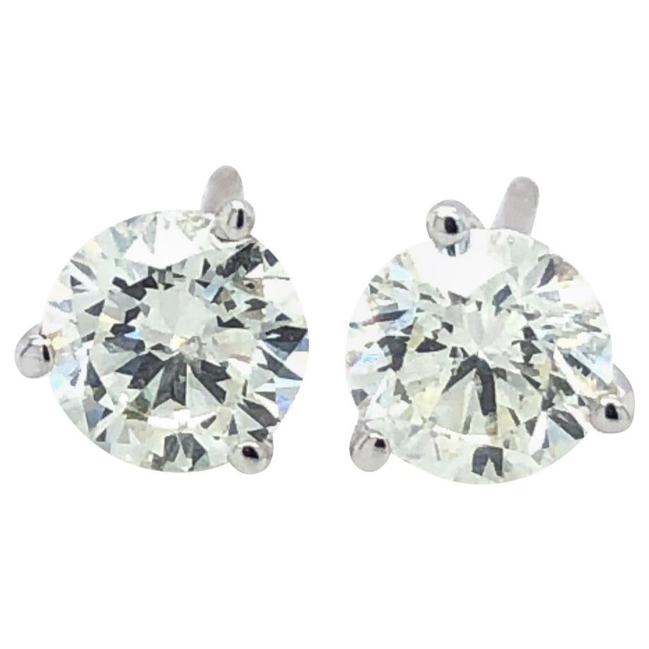 1.42 Carat Diamond Studs 14 Karat White Gold Martini