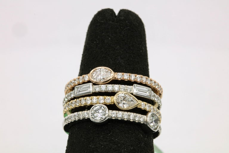 Contemporary 1.42 Carat Diamond Tri Color Stackable Rings For Sale