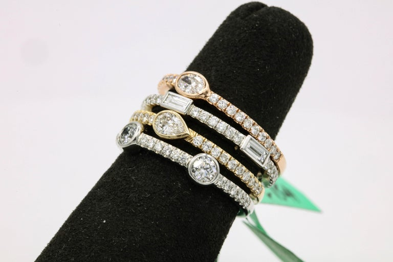 Round Cut 1.42 Carat Diamond Tri Color Stackable Rings For Sale