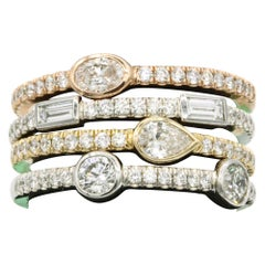 1.42 Carat Diamond Tri Color Stackable Rings