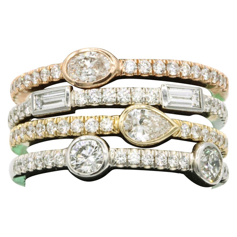 1.42 Carat Diamond Tri Color Stackable Rings For Sale