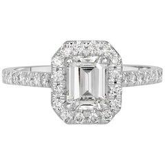1.42 Carat Emerald Cut Diamond Engagement Ring