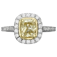 1.42 Carat Fancy Yellow Cushion Cut Diamond Engagement Ring