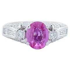 1.42 Carat Oval Pink Sapphire and Diamond Cocktail Ring in 18 Karat White Gold