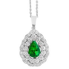 1.42 Carat Pear Tsavorite and Diamond Necklace