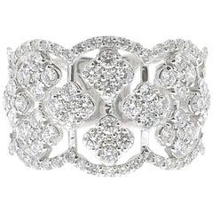 1.42 Carat Round Diamond Clover Ring 18 Karat White Gold Band Fashion Ring