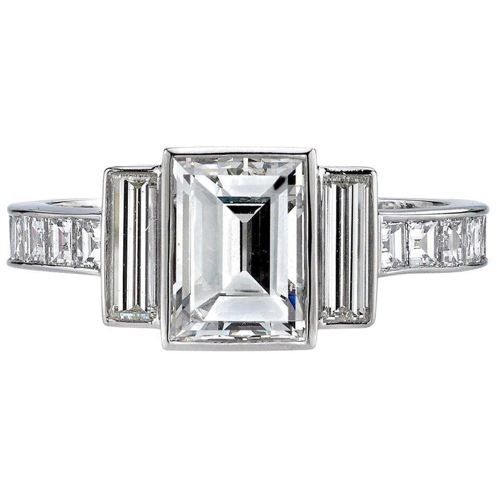 Handcrafted Lisa Step Cut Diamond Ring by Single Stone