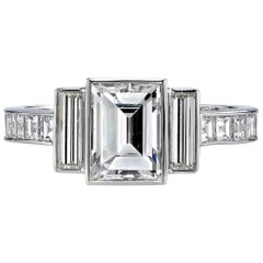 1.42 Carat Step Cut Diamond Set in a Handcrafted Platinum Mounting