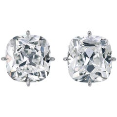 1.42 Carats Total Weight Antique Cushion Diamond Custom Made Platinum Studs