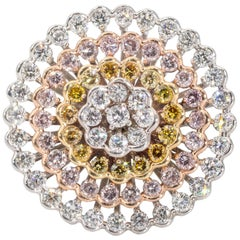 1.42 Carat Total Weight Natural Pink, Yellow, and White Diamond Ring
