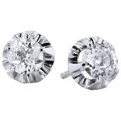 1.42 Old Mine Cushion Cut Diamond Stud Earrings