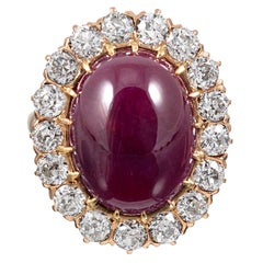 14.20 Carat Cabochon Ruby and Diamond Cluster Ring