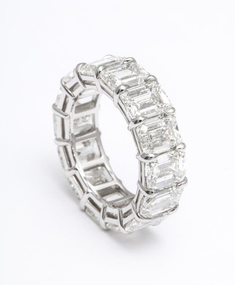 14.20 Carat Emerald Cut Diamond Eternity Band For Sale 1