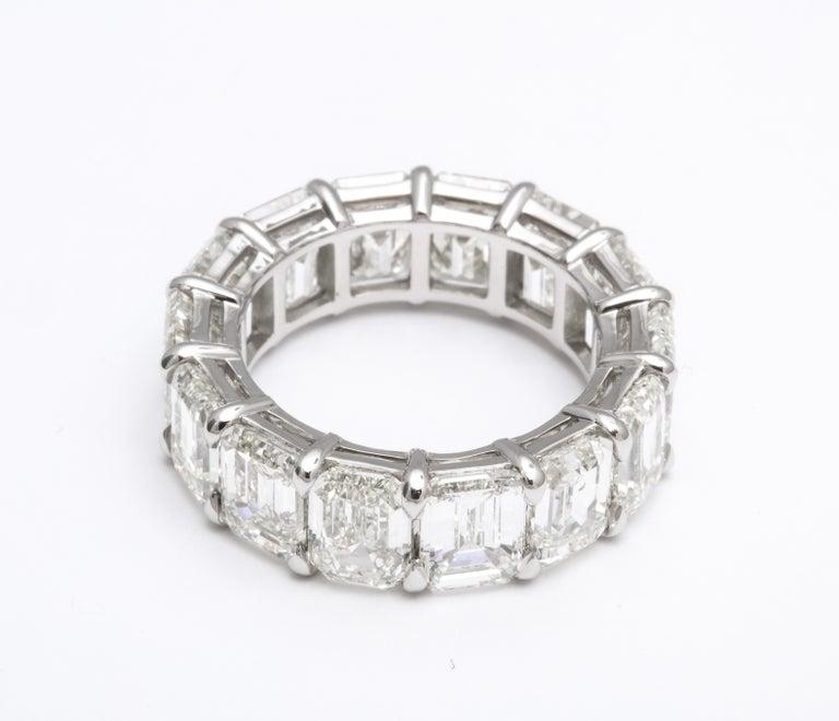 14.20 Carat Emerald Cut Diamond Eternity Band For Sale 2