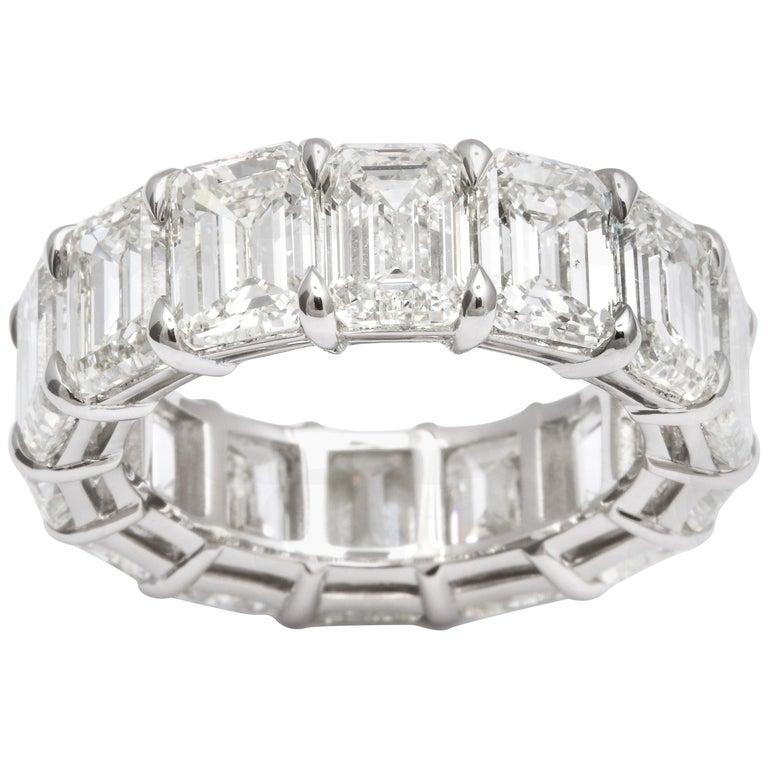 14.20 Carat Emerald Cut Diamond Eternity Band For Sale