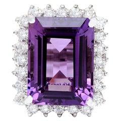 14.20 Carat Natural Amethyst 18 Karat Solid White Gold Diamond Ring