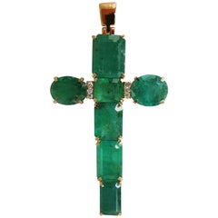 14.20 Carat Natural Emeralds Cross Diamond Pendant 14 Karat