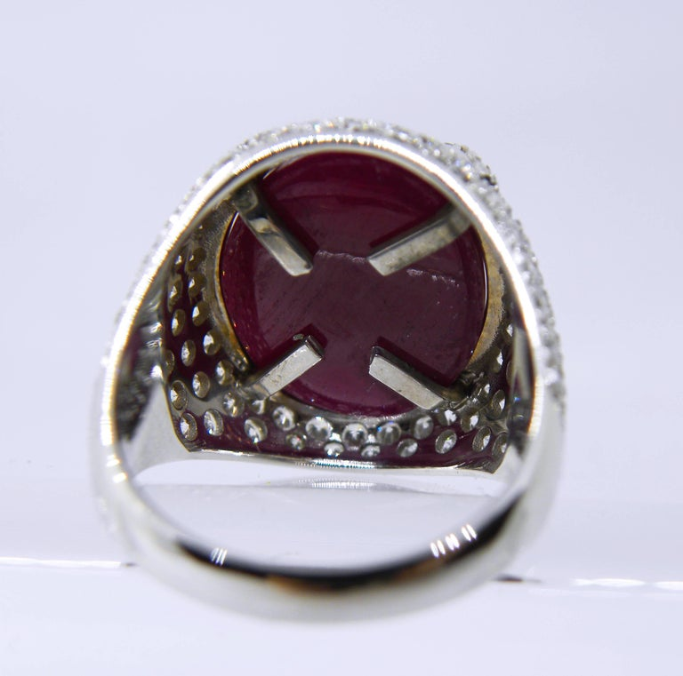 Berca 14.20 Carat Natural Ruby Oval Cabochon White Diamond Cocktail Ring For Sale 4