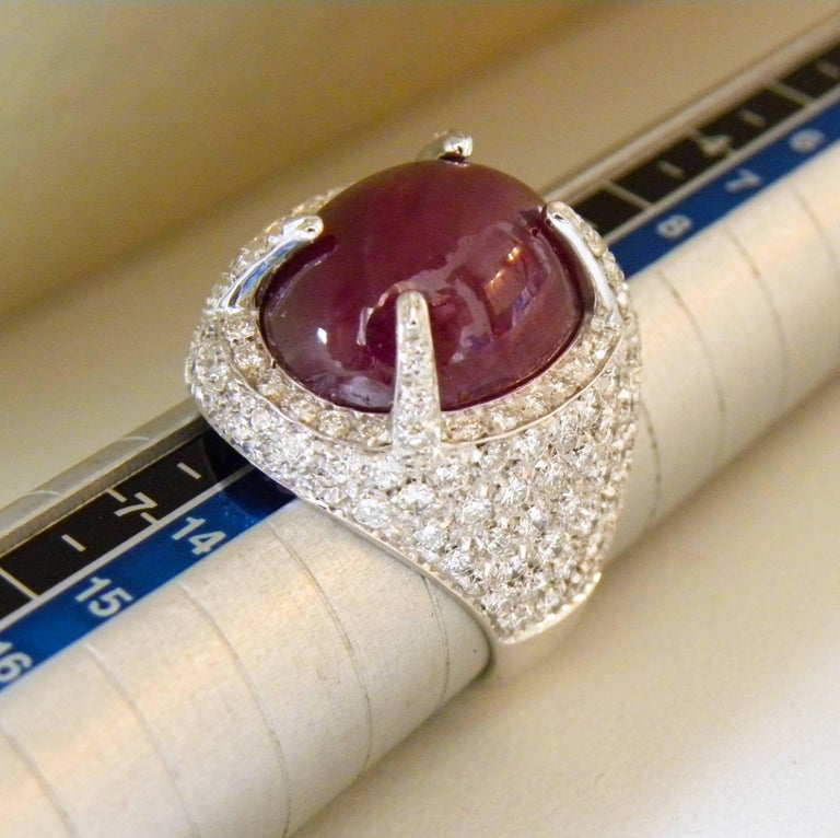 Berca 14.20 Carat Natural Ruby Oval Cabochon White Diamond Cocktail Ring For Sale 5