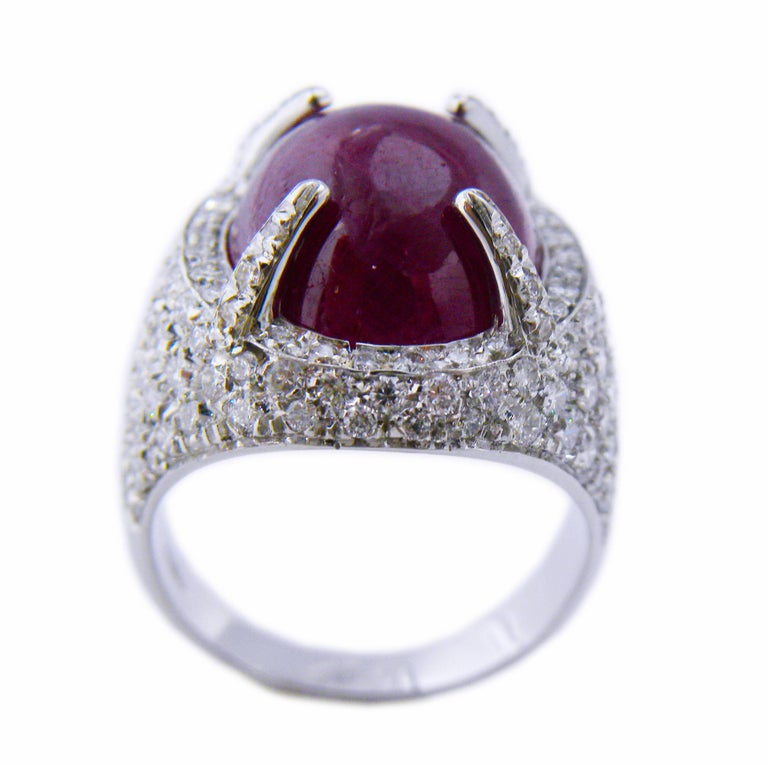 Berca 14.20 Carat Natural Ruby Oval Cabochon White Diamond Cocktail Ring For Sale 1