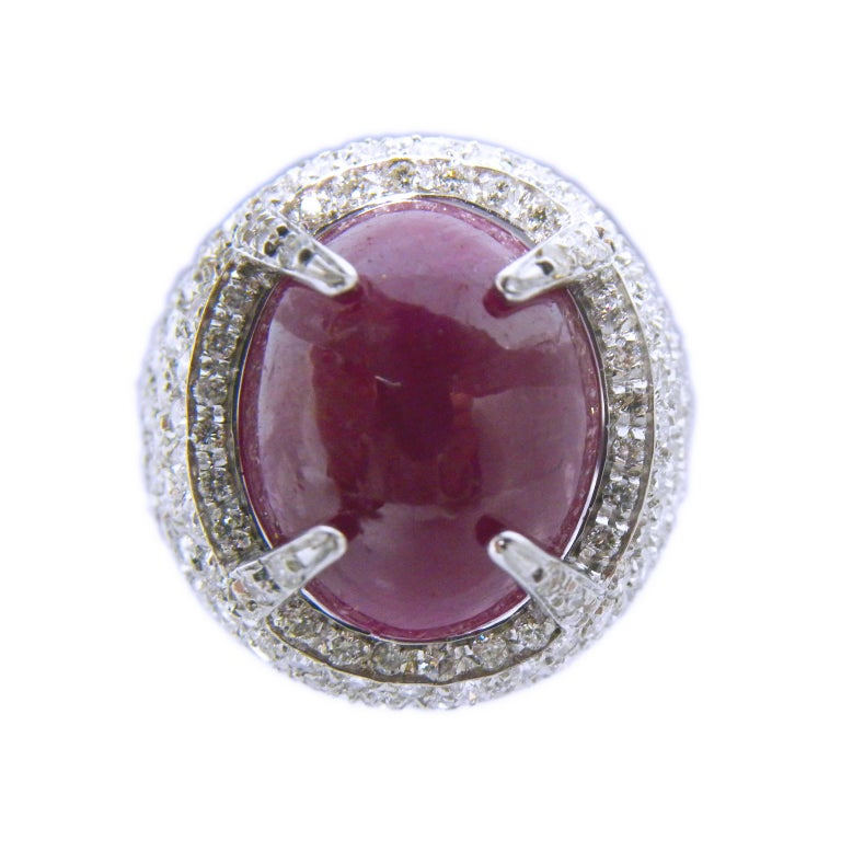 Berca 14.20 Carat Natural Ruby Oval Cabochon White Diamond Cocktail Ring For Sale 2