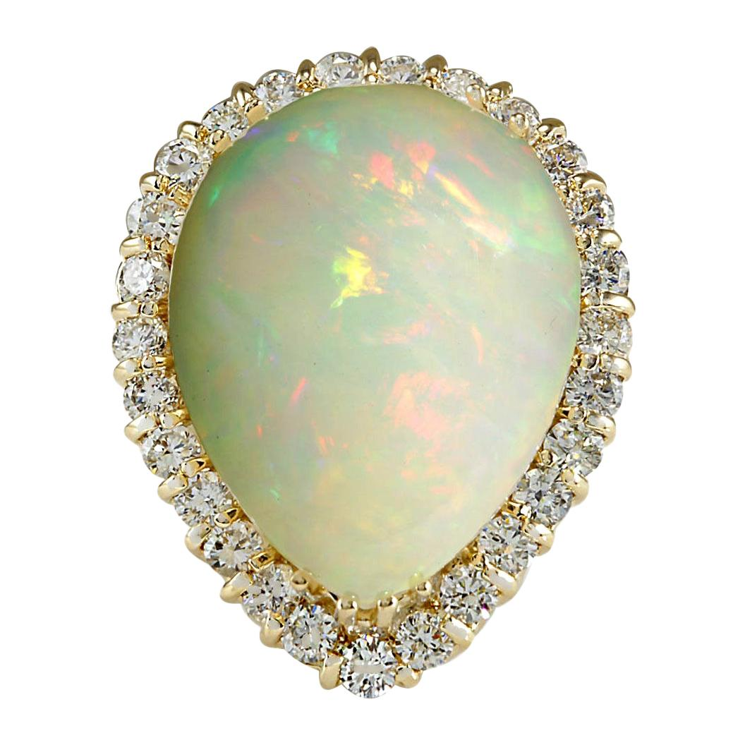 14.20 Carat Opal 18 Karat Yellow Gold Diamond Ring