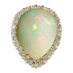 14.20 Carat Opal 18 Karat Yellow Gold Diamond Ring