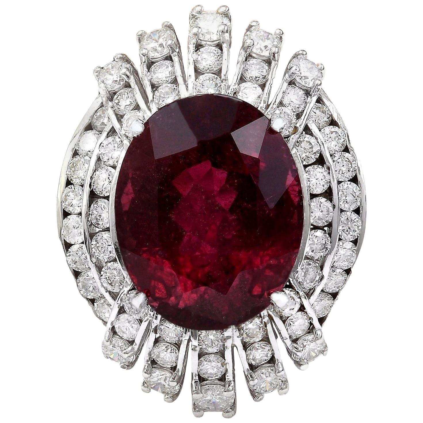14.20 Carat Tourmaline 18 Karat Solid White Gold Diamond Ring