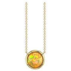 14.21 Carat Ethiopian Opal Cabochon 18 Karat Yellow Gold Necklace